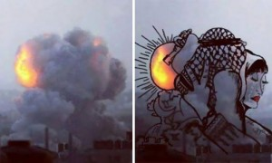gaza-israel-rocket-strike-smoke-art-By-Belal-Khaled