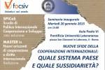 """Focsiv - """"Nuove sfide della cooperazione internazionale: quale sistema paese e quale sussidiarietà?"""""""