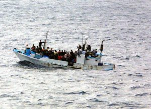 A distressed vessel discovered by the US Navy (USN) Oliver Hazard Perry Class Guided Missile Frigate USS RENTZ (FFG 46) 300 miles from shore with 90 people on board, including women and children. The RENTZ provided assistance and took the Ecuadorian citizens to Guatemala, from where they would be repatriated. (SUBSTANDARD)