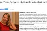 """""""+600 mila volontari in 2 anni"""" - AdnKronos del 05/12/2017"""