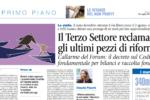 Il Terzo settore reclama gli ultimi pezzi di riforma, Avvenire - 19/07/2018