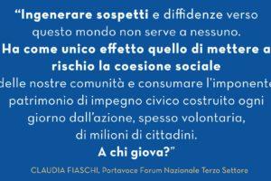 """Fiaschi (Forum) """"Basta con le generalizzazioni e la delegittimazione del Terzo settore"""""""