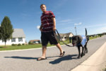 Brandon Luba, son of Master Sgt. Michael Luba, 9th Airlift Wing, walks Fala, a black Labrador retriever.  Fala was a seeing eye dog candidate and is now used to help train other dogs for the Guiding Eyes for the Blind program.  (U.S. Air Force photo/Jason Minto)