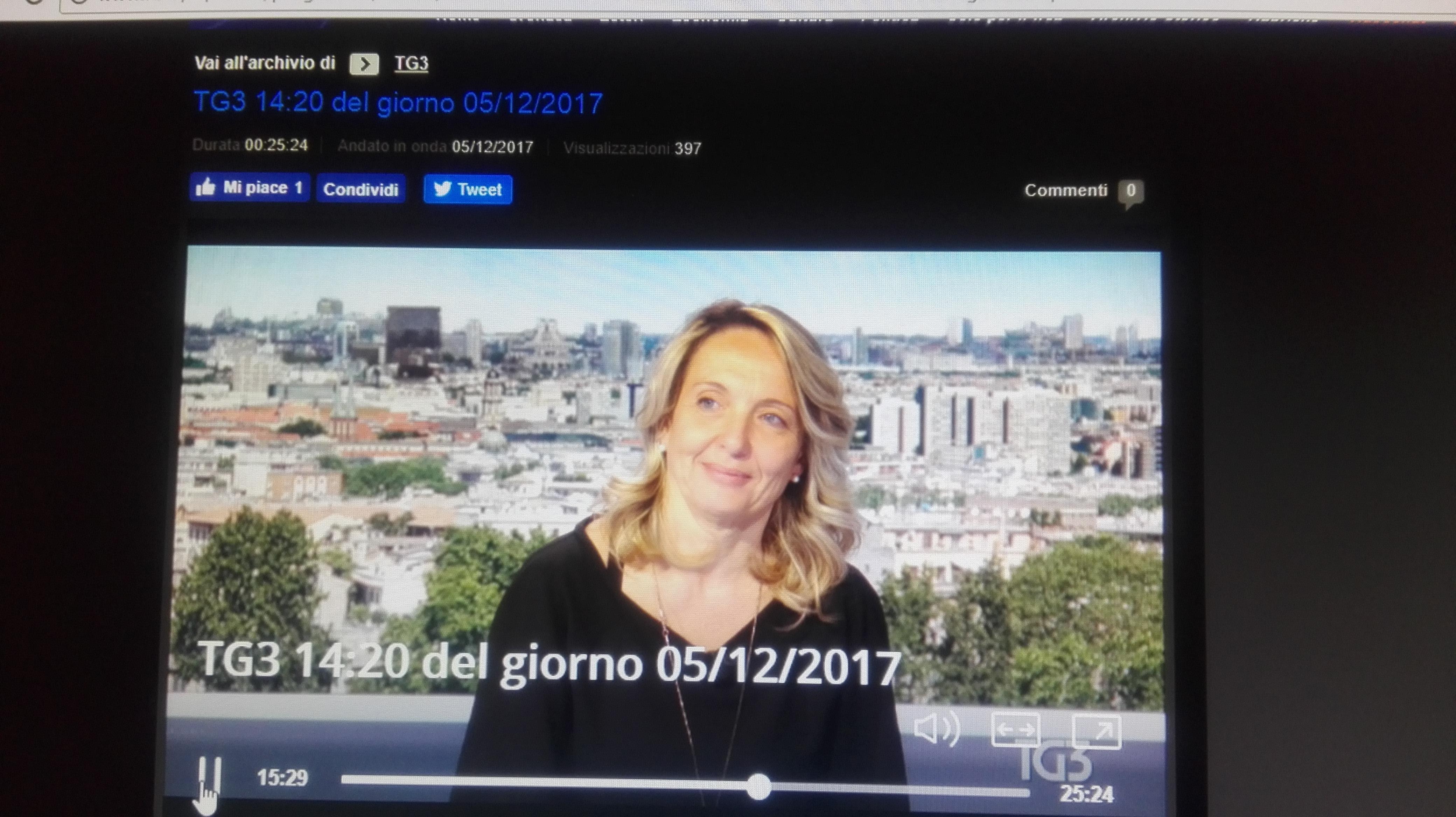 Claudia Fiaschi al TG3 - Dicembre 2017